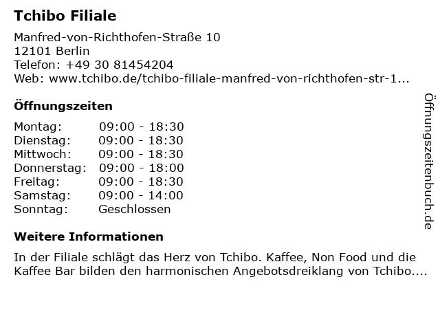 Tchibo GmbH in Berlin: Adresse und Öffnungszeiten