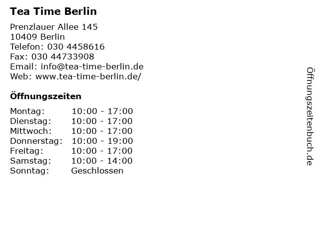 Tea Time Berlin in Berlin: Adresse und Öffnungszeiten