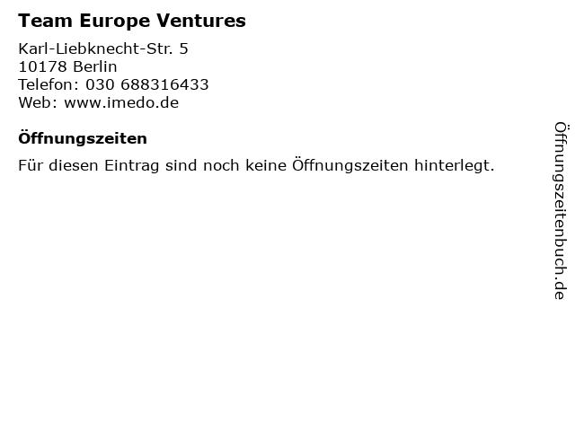 Team Europe Ventures in Berlin: Adresse und Öffnungszeiten