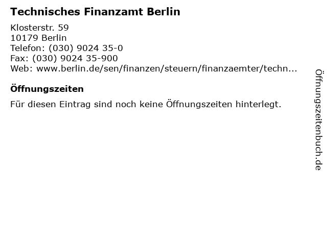 Technisches Finanzamt Berlin in Berlin: Adresse und Öffnungszeiten