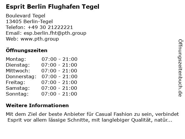 Esprit Berlin Flughafen Tegel in Berlin-Tegel: Adresse und Öffnungszeiten
