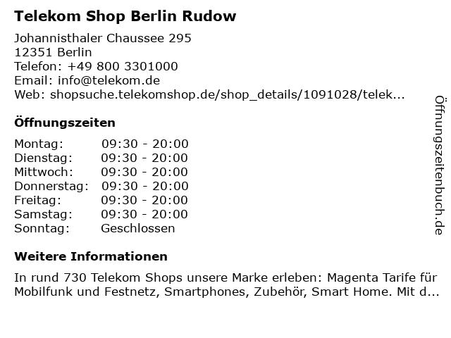 Telekom Shop Berlin Rudow in Berlin: Adresse und Öffnungszeiten