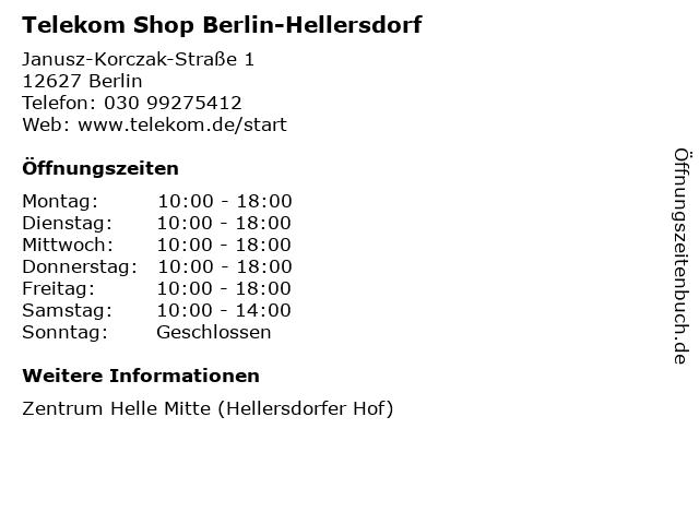 Telekom Shop Berlin-Hellersdorf in Berlin: Adresse und Öffnungszeiten