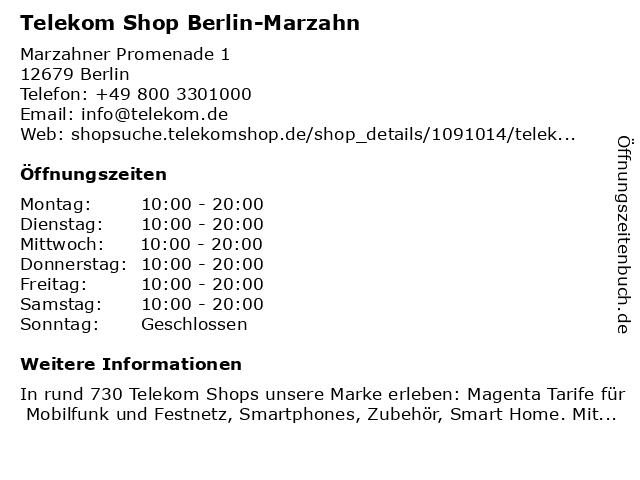 Telekom Shop Berlin-Marzahn in Berlin: Adresse und Öffnungszeiten