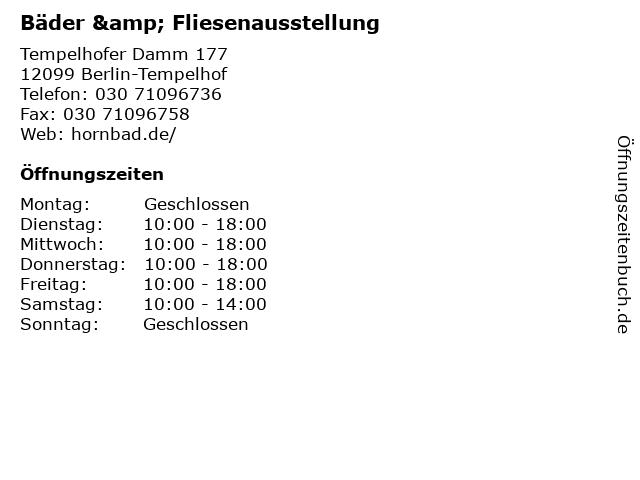 Bäder & Fliesenausstellung in Berlin-Tempelhof: Adresse und Öffnungszeiten