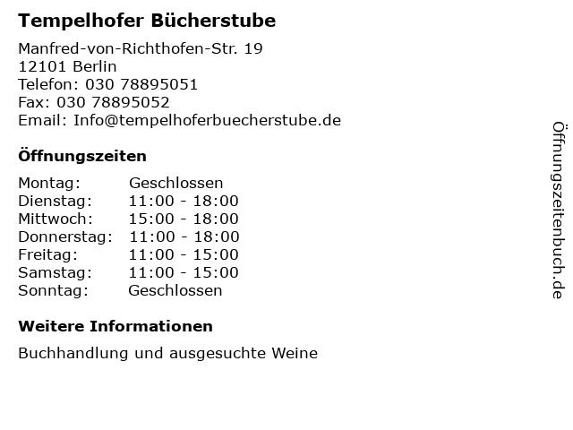 Tempelhofer Bücherstube in Berlin: Adresse und Öffnungszeiten