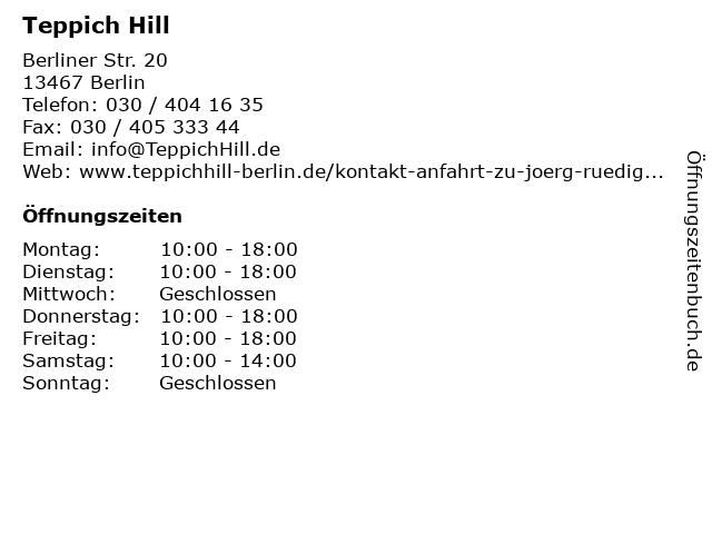 Teppich Hill in Berlin: Adresse und Öffnungszeiten