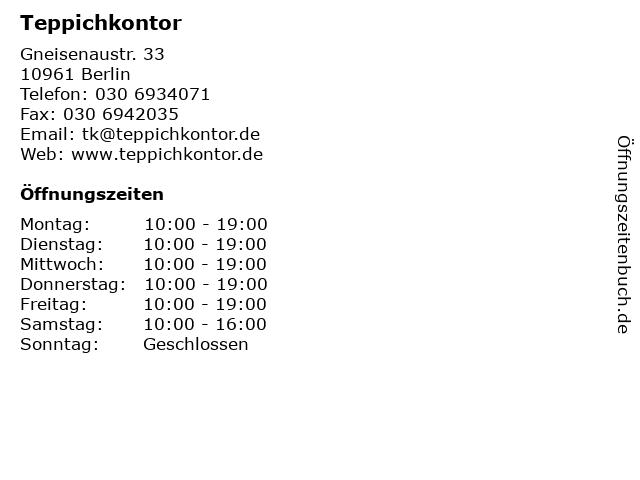 ᐅ Offnungszeiten Teppichkontor Gneisenaustr 33 In Berlin