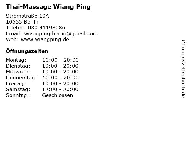 Thai-Massage Wiang Ping in Berlin: Adresse und Öffnungszeiten