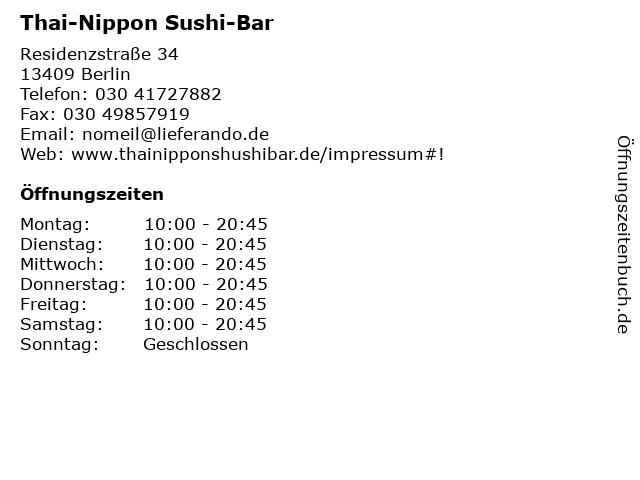 Thai-Nippon Sushi-Bar in Berlin: Adresse und Öffnungszeiten