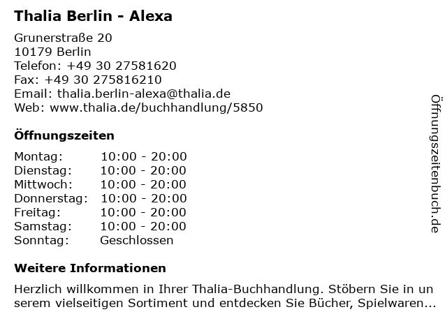 Thalia Berlin - Alexa in Berlin: Adresse und Öffnungszeiten