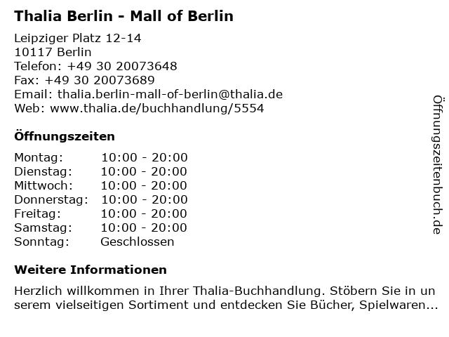 Thalia Berlin - Mall of Berlin in Berlin: Adresse und Öffnungszeiten