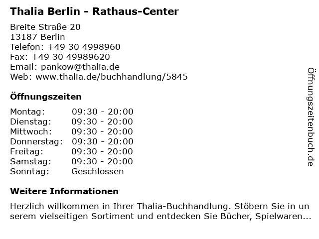 Thalia Berlin - Rathaus-Center in Berlin: Adresse und Öffnungszeiten