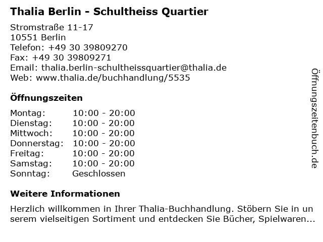 Thalia Berlin - Schultheiss Quartier in Berlin: Adresse und Öffnungszeiten