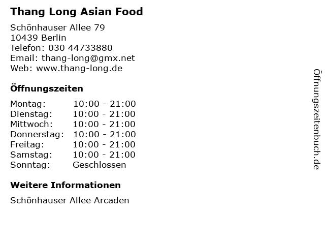 Thang Long Asian Food in Berlin: Adresse und Öffnungszeiten
