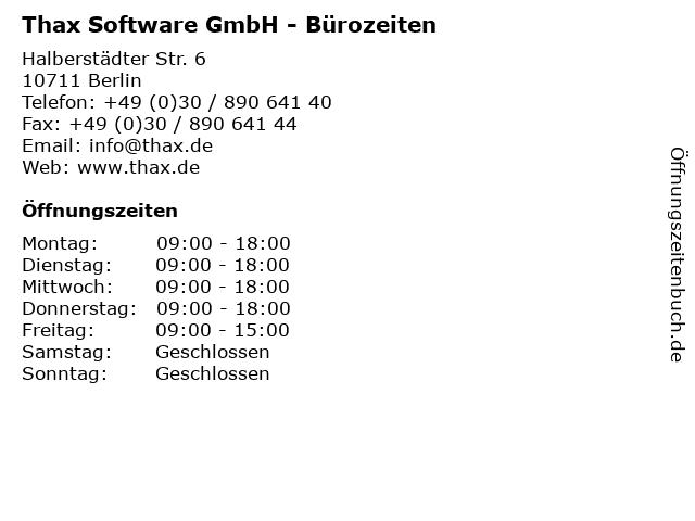 Thax Software GmbH - Bürozeiten in Berlin: Adresse und Öffnungszeiten