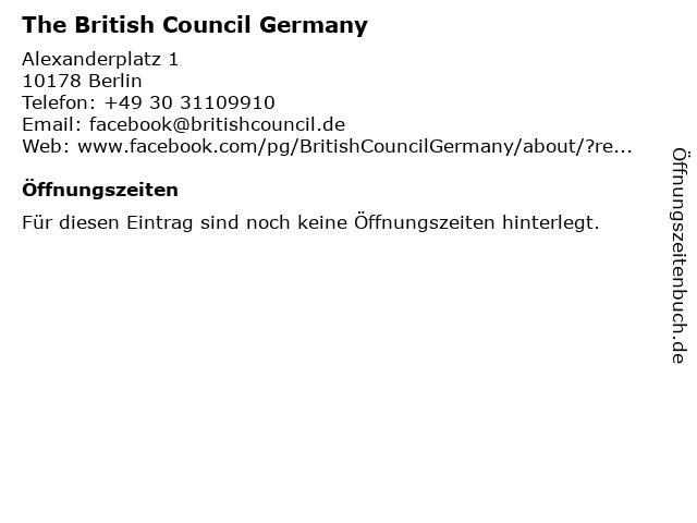 The British Council Germany in Berlin: Adresse und Öffnungszeiten