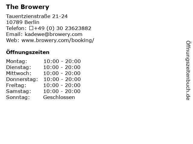 The Browery in Berlin: Adresse und Öffnungszeiten
