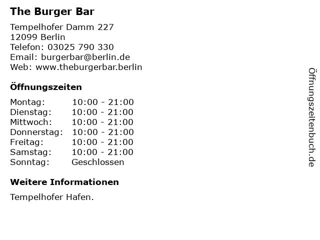 The Burger Bar in Berlin: Adresse und Öffnungszeiten