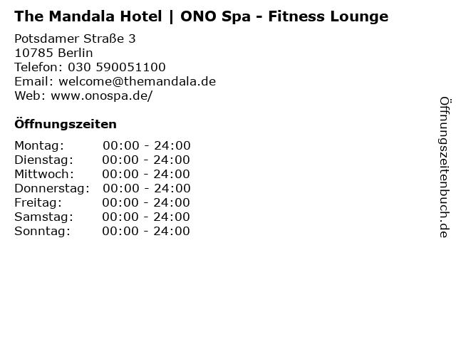 The Mandala Hotel | ONO Spa - Fitness Lounge in Berlin: Adresse und Öffnungszeiten