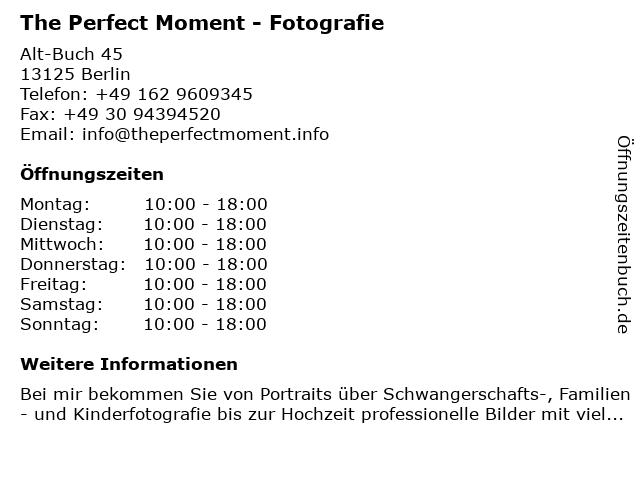 The Perfect Moment - Fotografie in Berlin: Adresse und Öffnungszeiten