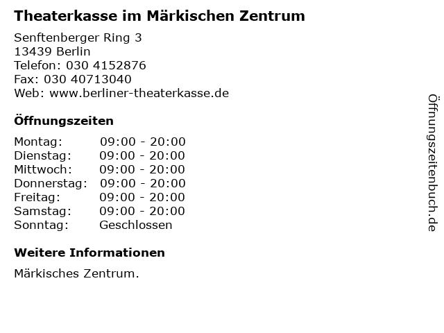 Theaterkasse im Märkischen Zentrum in Berlin: Adresse und Öffnungszeiten