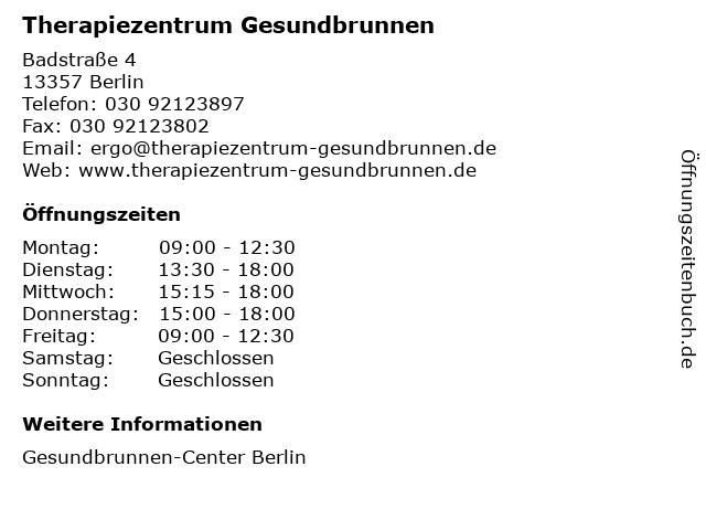 Therapiezentrum Gesundbrunnen in Berlin: Adresse und Öffnungszeiten