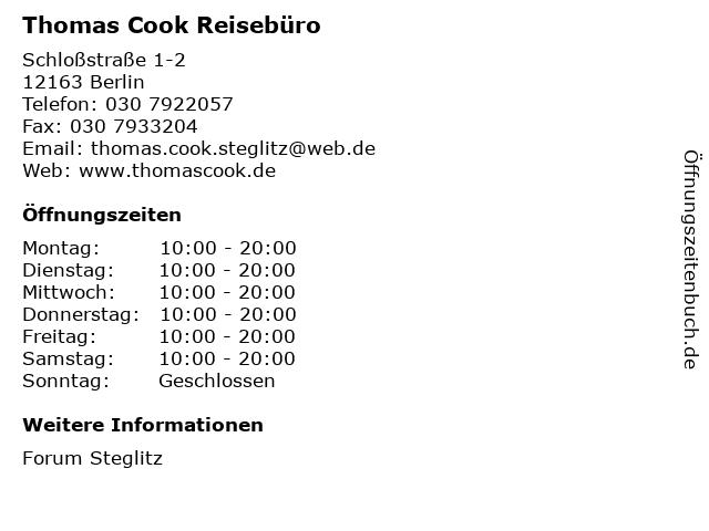 Thomas Cook Reisebüro in Berlin: Adresse und Öffnungszeiten