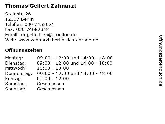 Thomas Gellert Zahnarzt in Berlin: Adresse und Öffnungszeiten