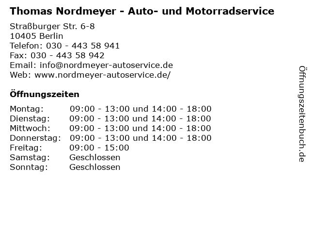 Thomas Nordmeyer - Auto- und Motorradservice in Berlin: Adresse und Öffnungszeiten