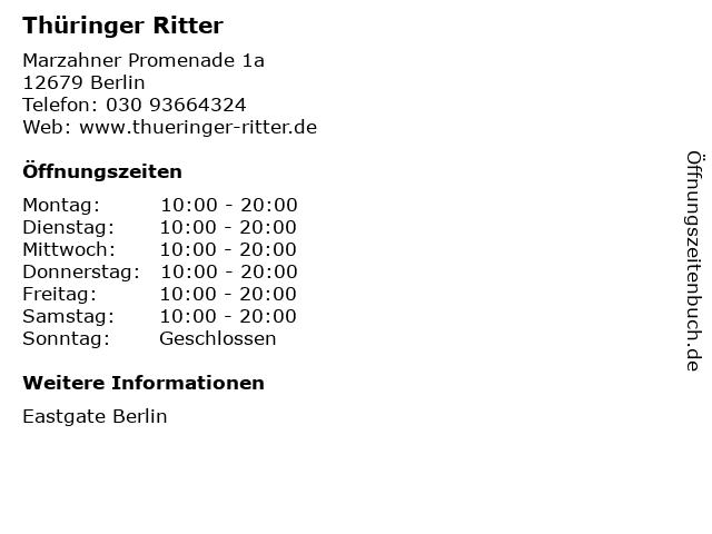 Thüringer Ritter in Berlin: Adresse und Öffnungszeiten