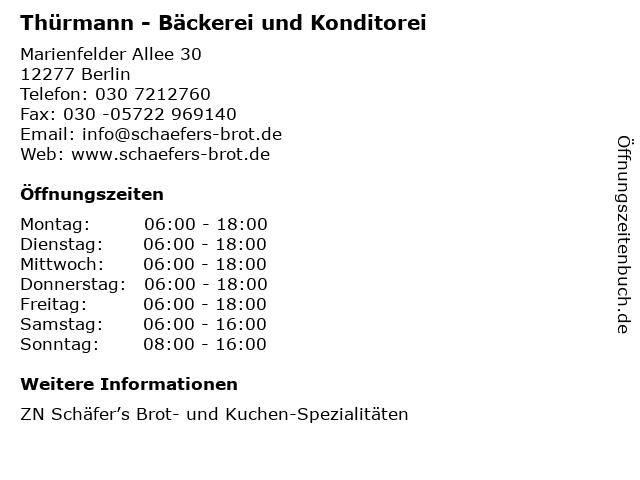 Thürmann - Bäckerei und Konditorei in Berlin: Adresse und Öffnungszeiten