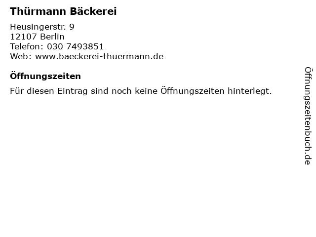 Thürmann Bäckerei in Berlin: Adresse und Öffnungszeiten
