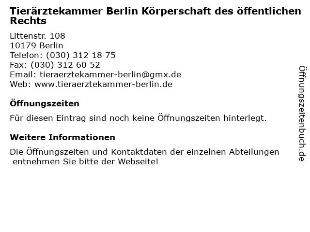 Tierärztekammer Berlin Körperschaft des öffentlichen Rechts in Berlin: Adresse und Öffnungszeiten