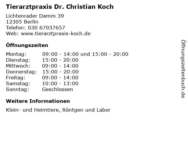 Tierarztpraxis Dr. Christian Koch in Berlin: Adresse und Öffnungszeiten