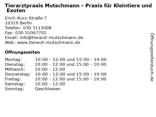 Tierarztpraxis Mutschmann - Praxis für Kleintiere und Exoten in Berlin: Adresse und Öffnungszeiten