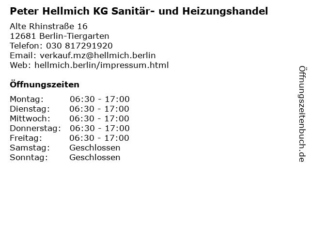 Peter Hellmich KG Sanitär- und Heizungshandel in Berlin-Tiergarten: Adresse und Öffnungszeiten