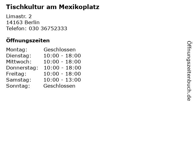 Tischkultur am Mexikoplatz in Berlin: Adresse und Öffnungszeiten