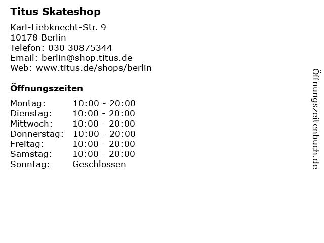 Titus Skateshop in Berlin: Adresse und Öffnungszeiten