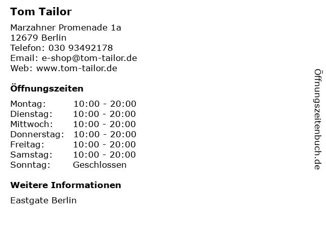 Tom Tailor in Berlin: Adresse und Öffnungszeiten