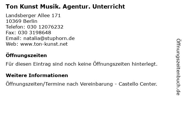 Ton Kunst Musik. Agentur. Unterricht in Berlin: Adresse und Öffnungszeiten