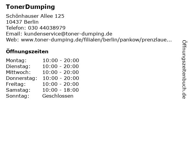TonerDumping in Berlin: Adresse und Öffnungszeiten