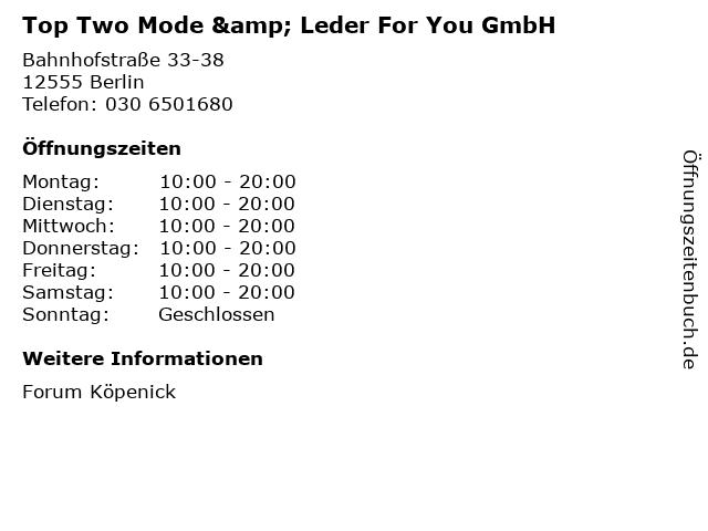 Top Two Mode & Leder For You GmbH in Berlin: Adresse und Öffnungszeiten