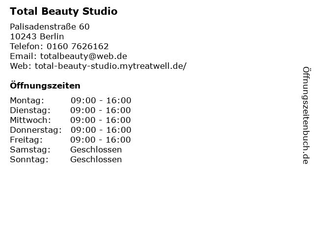 Total Beauty Studio in Berlin: Adresse und Öffnungszeiten