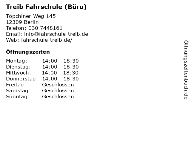 Treib Fahrschule (Büro) in Berlin: Adresse und Öffnungszeiten