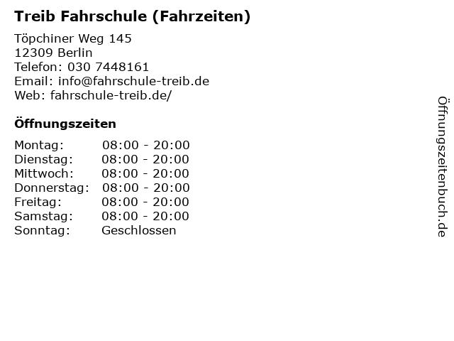 Treib Fahrschule (Fahrzeiten) in Berlin: Adresse und Öffnungszeiten