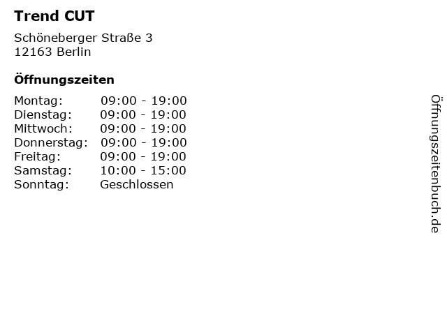 Trend CUT in Berlin: Adresse und Öffnungszeiten