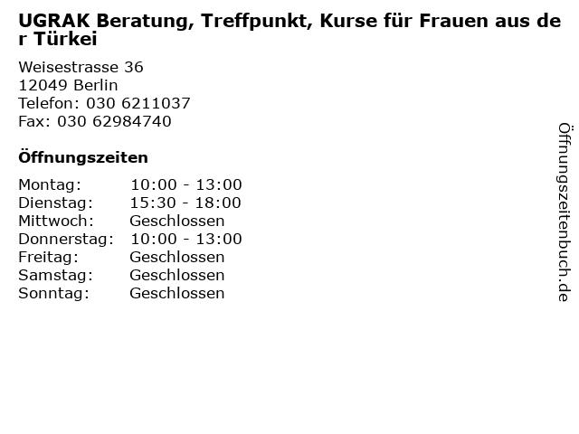 UGRAK Beratung, Treffpunkt, Kurse für Frauen aus der Türkei in Berlin: Adresse und Öffnungszeiten