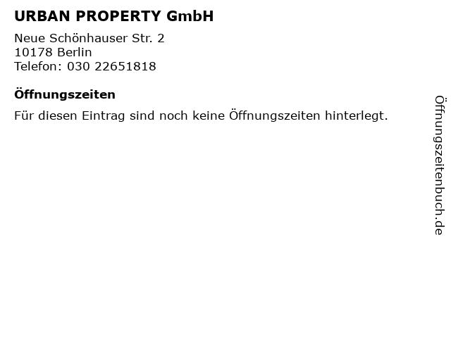 URBAN PROPERTY GmbH in Berlin: Adresse und Öffnungszeiten