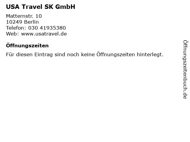 USA Travel SK GmbH in Berlin: Adresse und Öffnungszeiten